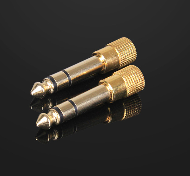 1x Audio Headphone Stereo 6.3mm Gold Plug Connector Phone jack