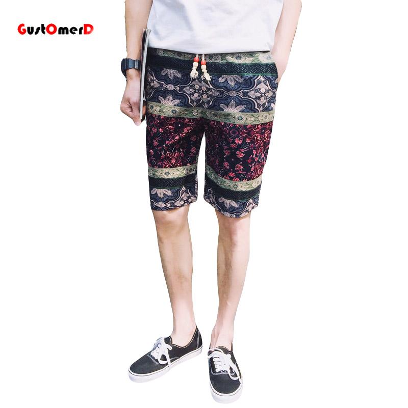7af081d5261 2016 новый стиль лето Лен длина до колена шорты мужчины вскользь уменьшают  подходящие пляжные шорты мужские шорты прохладный тонкий сорочка Homme