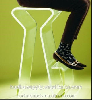 transparent acrylic bar stool high chair with footrest