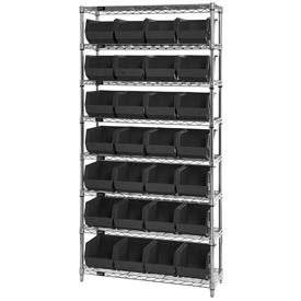 Wire Shelving With (28) Giant Plastic Stacking Bins Black, 36x14x74