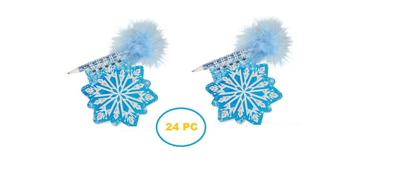 (24) CHRISTMAS Snowflake Notepad with Pen ~ 3.5'' Holiday Party Favors ~ Classroom Teacher Prize ~ Secret Santa ~ Giveaway ~ Birthday Goody Bag Fillers ~ Fair Prize