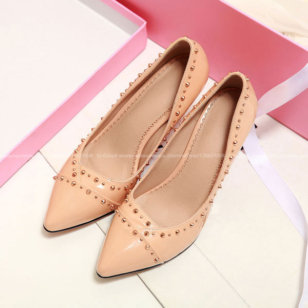 2015 Spring Women Nude Pumps Sexy Pointed High Heels Shoes Woman Brand Designer Wedding Party Spike Shoes Scarpe Donna