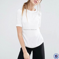 Top selling short sleeve lace back 100% silk blouses for women