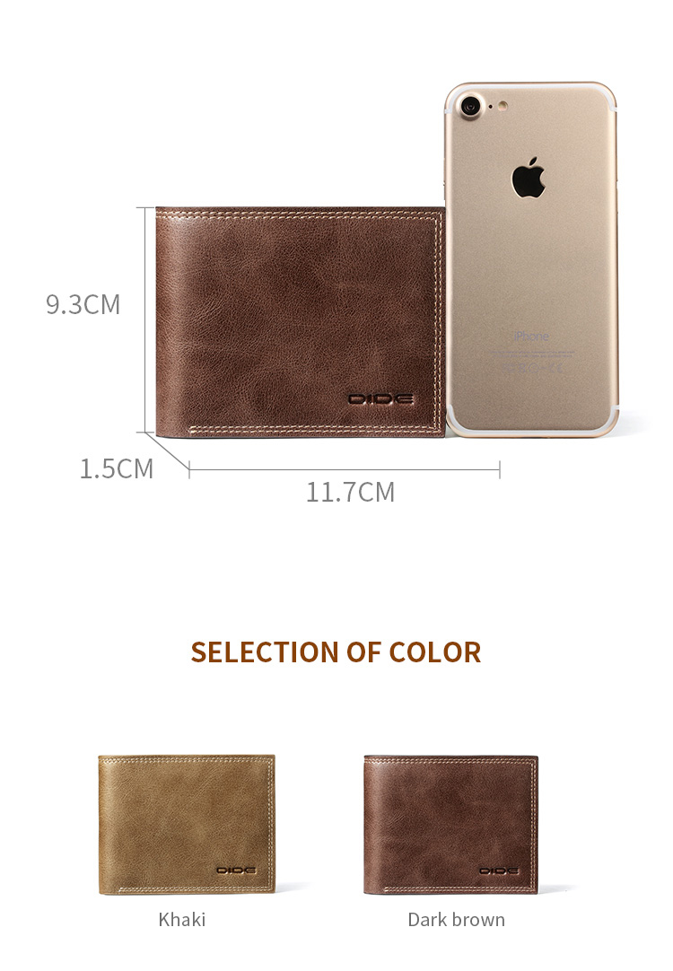 DIDE Genuine Leather Card Holder Mens Slim Wallet Supplier Money Clip Wallet For Men Gift Valentine's Day