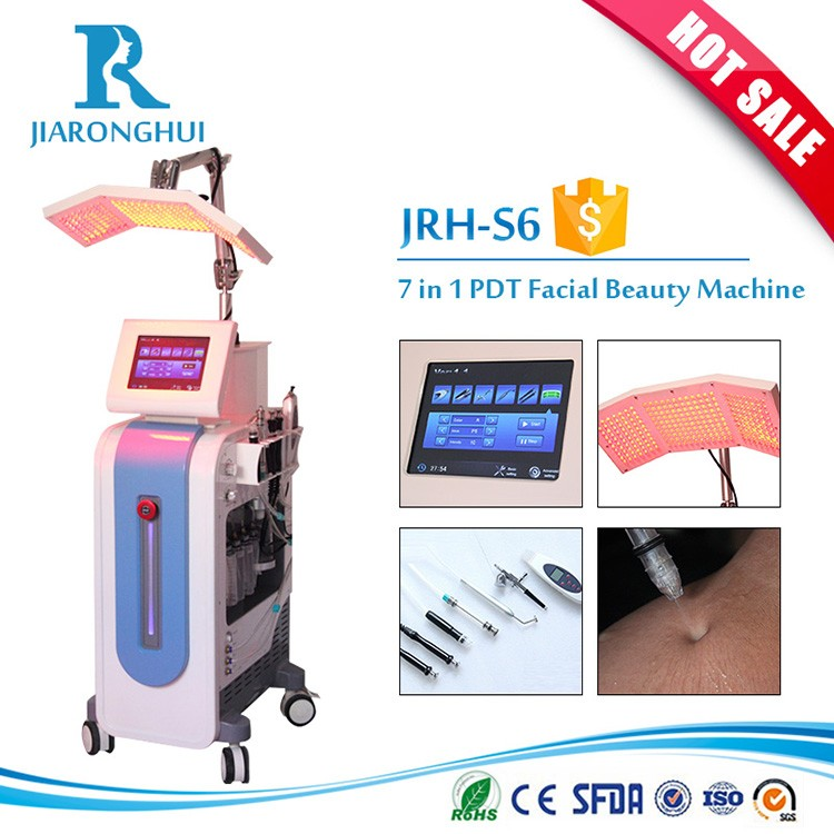 Facial beauty 7 in 1 multifunction PDT photo dynamic oxygen jet microdermabrasion diamond therapy beauty machine