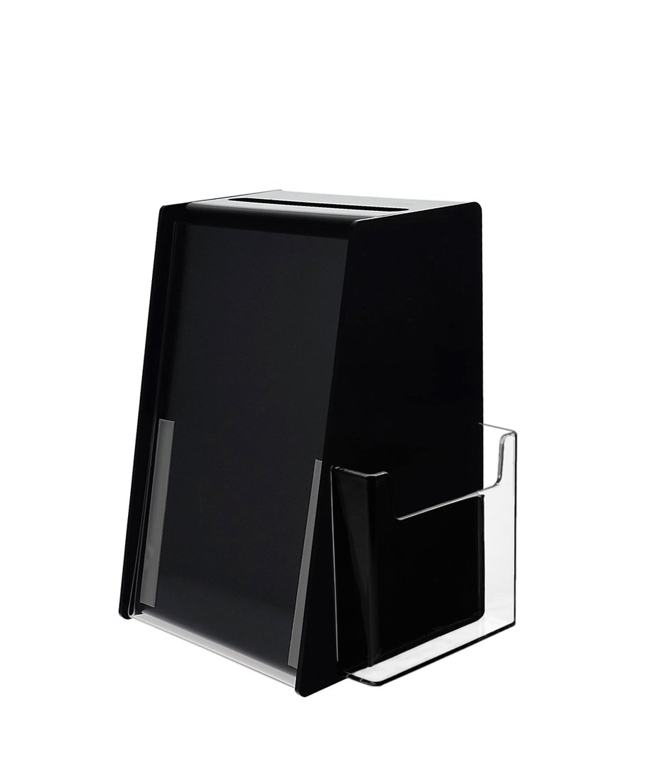 """Marketing Holders Acrylic Ballot Box with Holder for 5.5 by 8.5 Inch Sign and a Brochure Pocket - Black (1, 5.5"""" x 8.5"""")"""