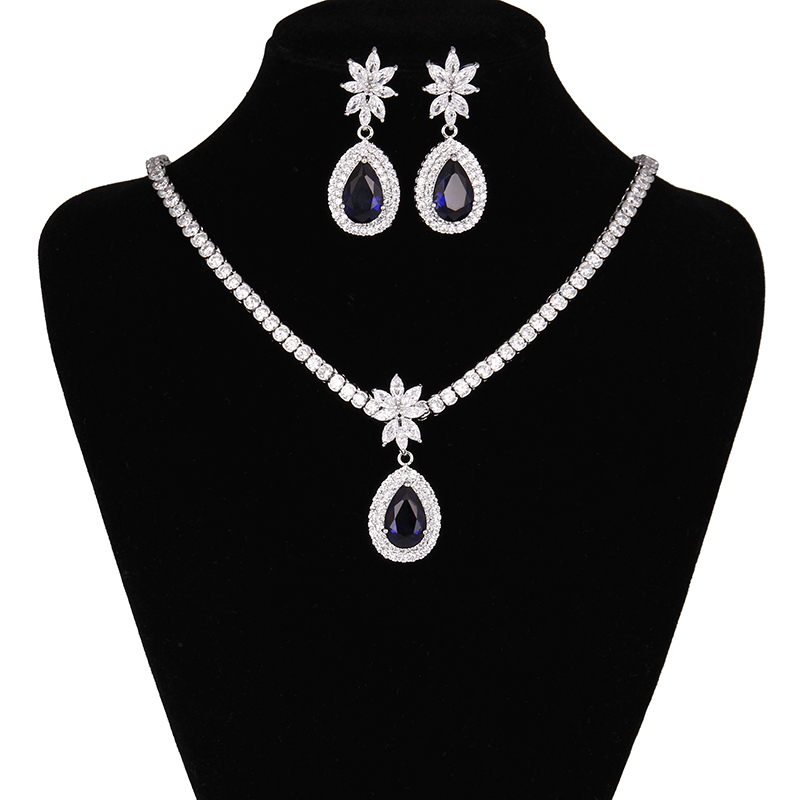Sapphire Blue Wedding Party Jewelry Sets Women's Bridal Cubic Zircon Teardrop Earrings Pendant Necklace Set