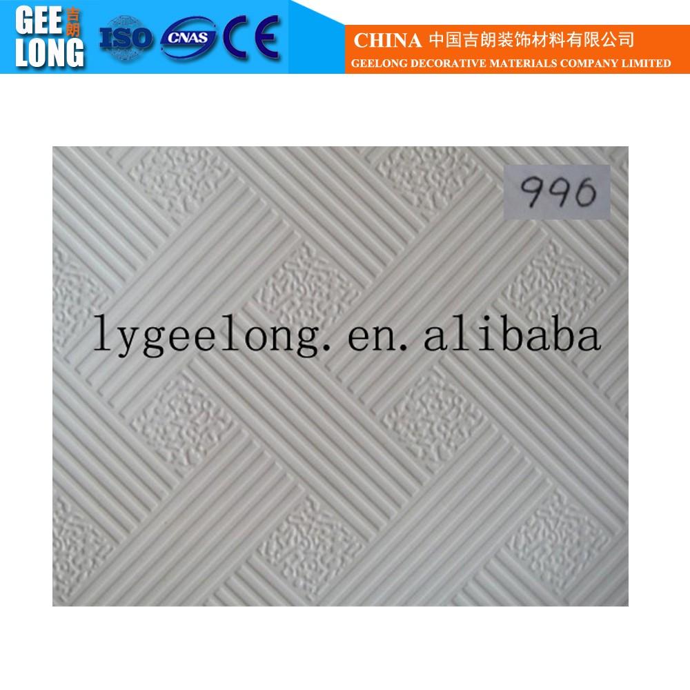Pvc laminé carreaux de plafond de gypseplafond intérieur décoration 595595