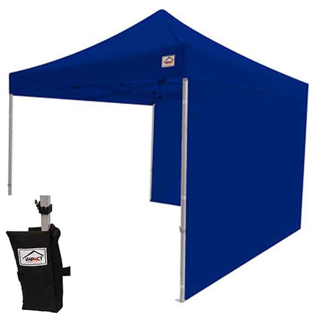 Impact Canopy 10x10 Instant Pop Up Canopy Tent, Aluminum Frame, Sidewalls, 4 Weight Bags, Roller Bag, Royal Blue