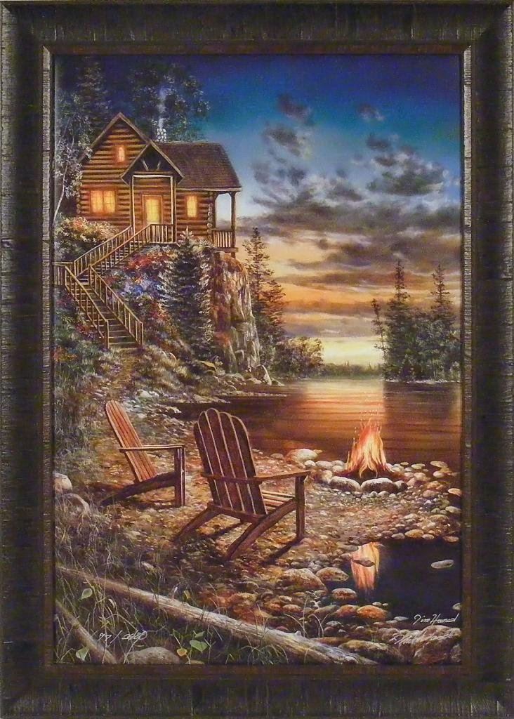 FIRE AND ICE by Jim Hansel Log Cabin Northern Lights Snow 24x33 FRAMED ART PRINT