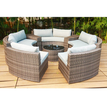 Kolam Rotan Taman Patio Kd Round Sofa Bed Outdoor Furniture Rotan