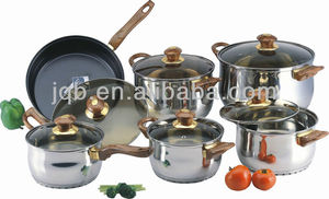 12 Pieces Induction Bottom Stainless Steel Chef Cookware Sets Cheap