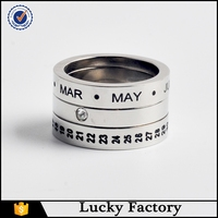 Men custom engraved name ring with silver color