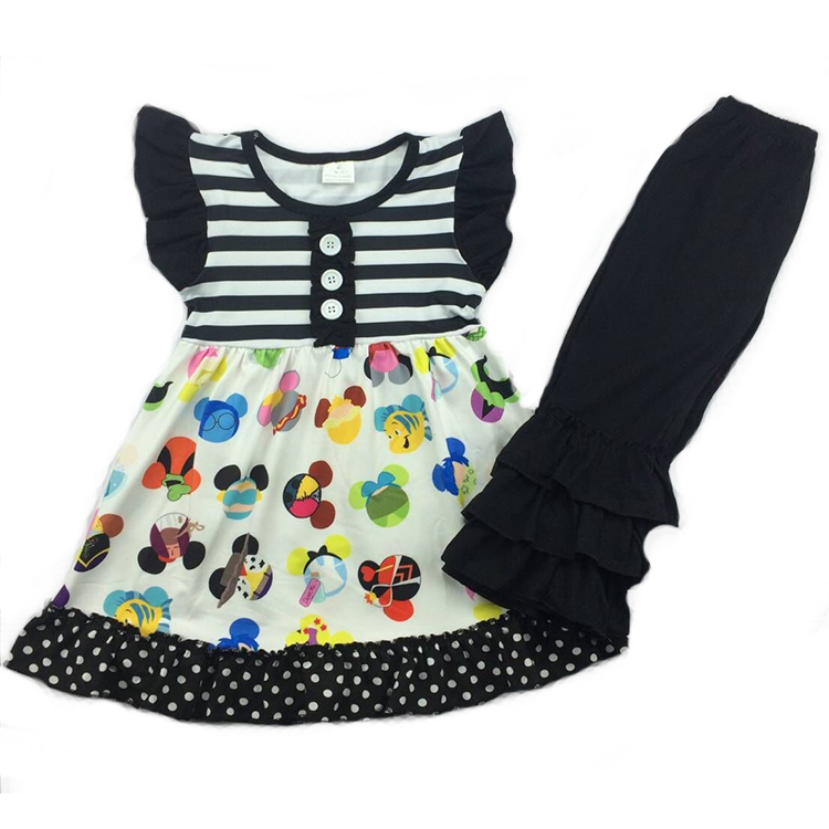 High quality baby girls 100%cotton little girl outfit wholesale spring summer boutique baby girl outfit