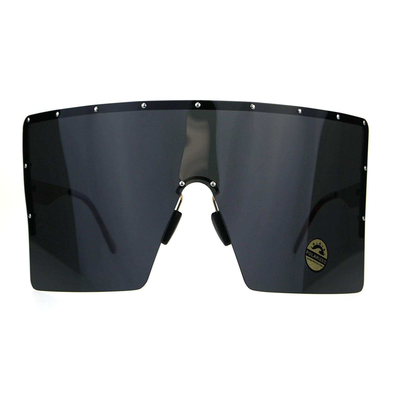 6b1876c84ef Get Quotations · Polarized Extra Large Face Mask Futuristic Shield  Sunglasses