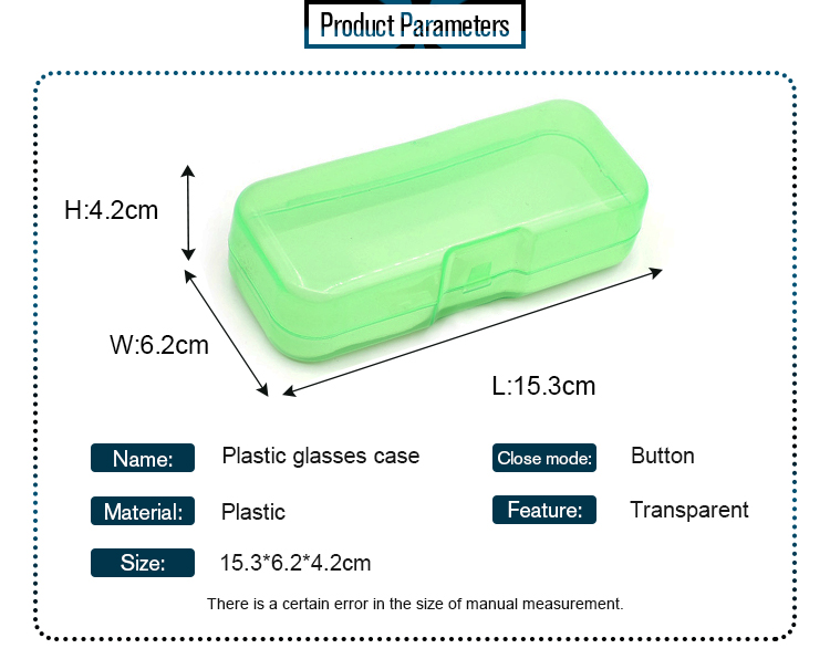 Factory Wholesale Concise Style Light Weight Plastic Eyeglasses Case