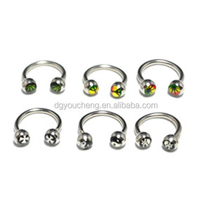 Picture Circular Barbell Nose Nipple Ring Horseshoe Earring