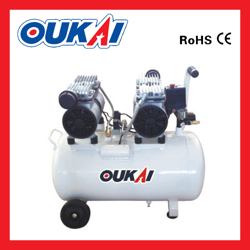 Mute oil free portable High Quality Oil Free Scroll Electric Portable Piston 50L 2*1.5HP Air Compressor with CE certification