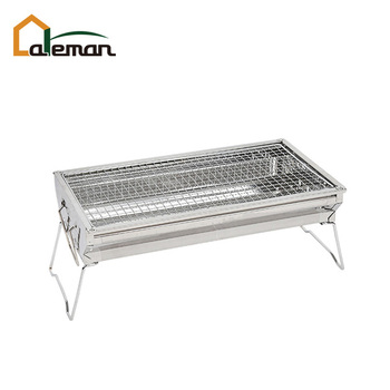 Folding Wire Leg Stainless Steel Rectangular Table Top Charcoal BBQ Grill,  Combined Barbecue/Mini