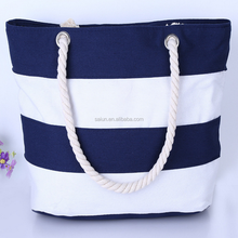 Yiwu cheap reusable Large size striped custm printed canvas tote bag rope handle