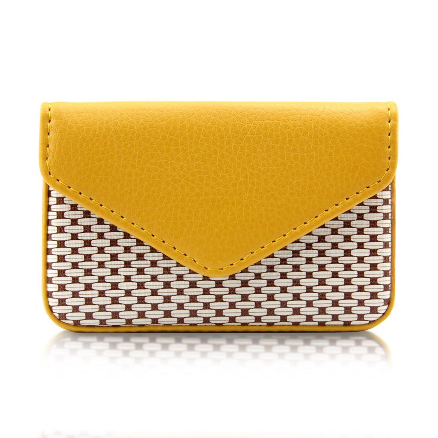 MaxGear Women Leather Business Card Holder Case with Magnetic Shut Fashion Yellow, Holds 25 Business Cards