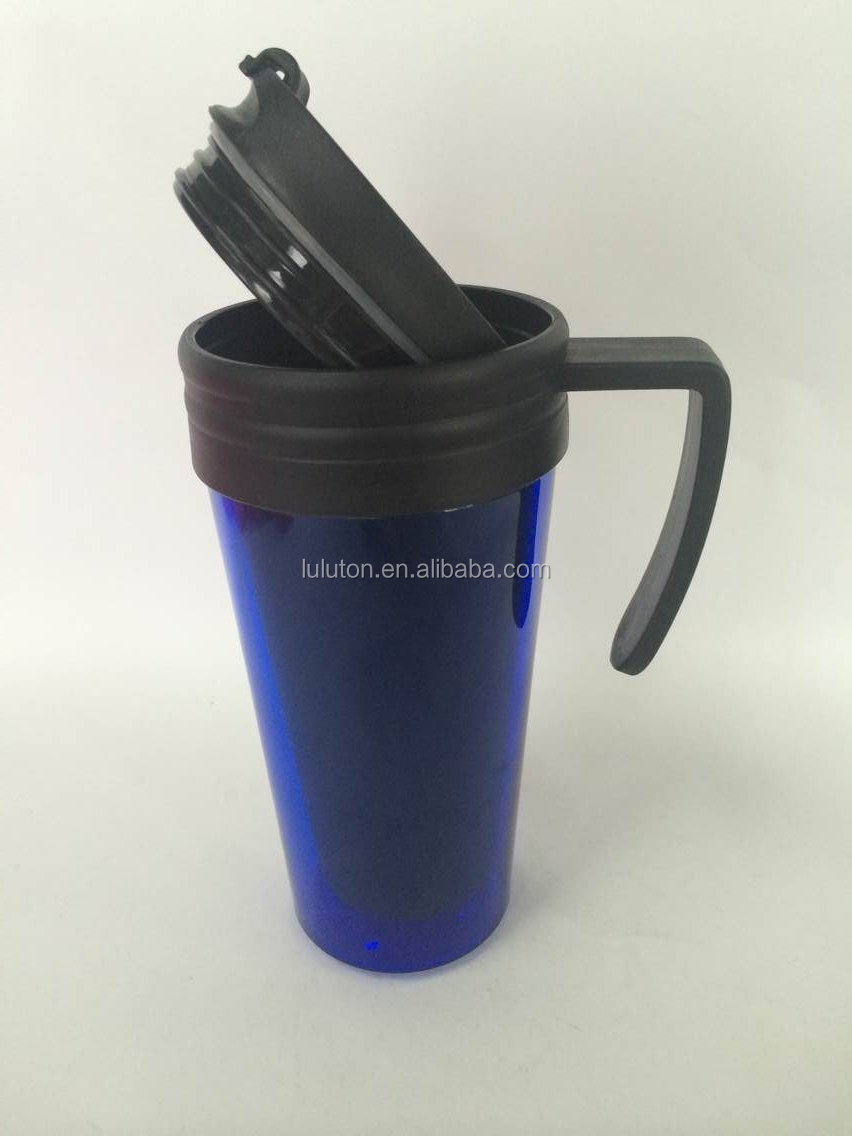 16oz Insulated Solid Plastic Coffee Drinking Mug Cup With