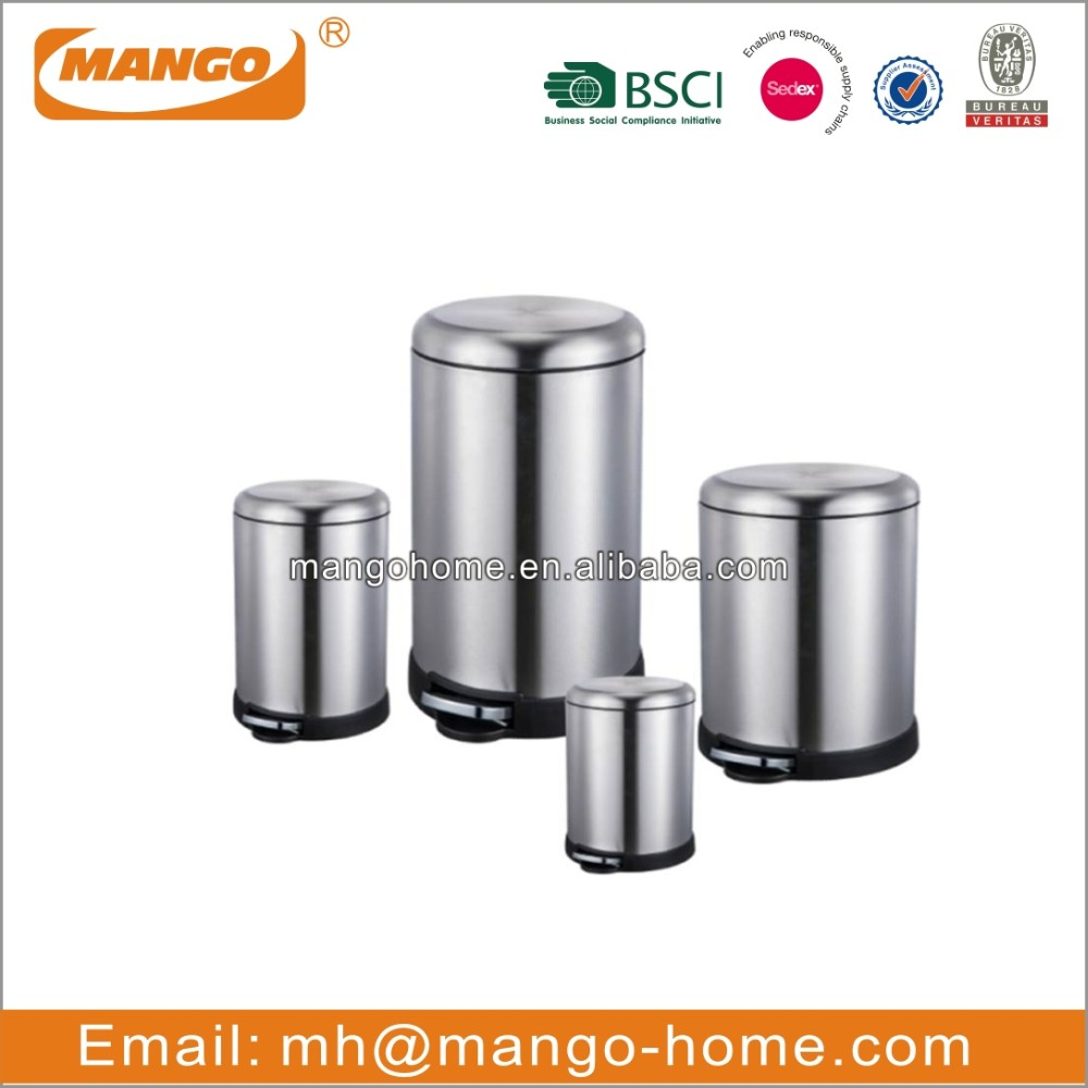 Oval Cover Stainless Steel Pedal Waste Bin