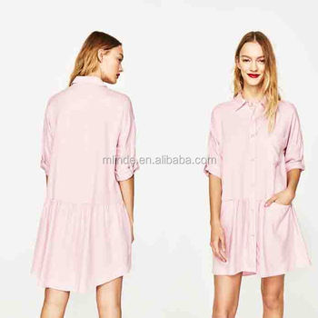 Cheap Custom Wholesale Dress Shirts Long Sleeve Shirts Dress With Frill Details