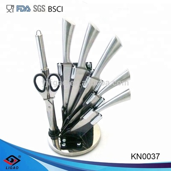 stainless steel kitchen knife set with acrylic block