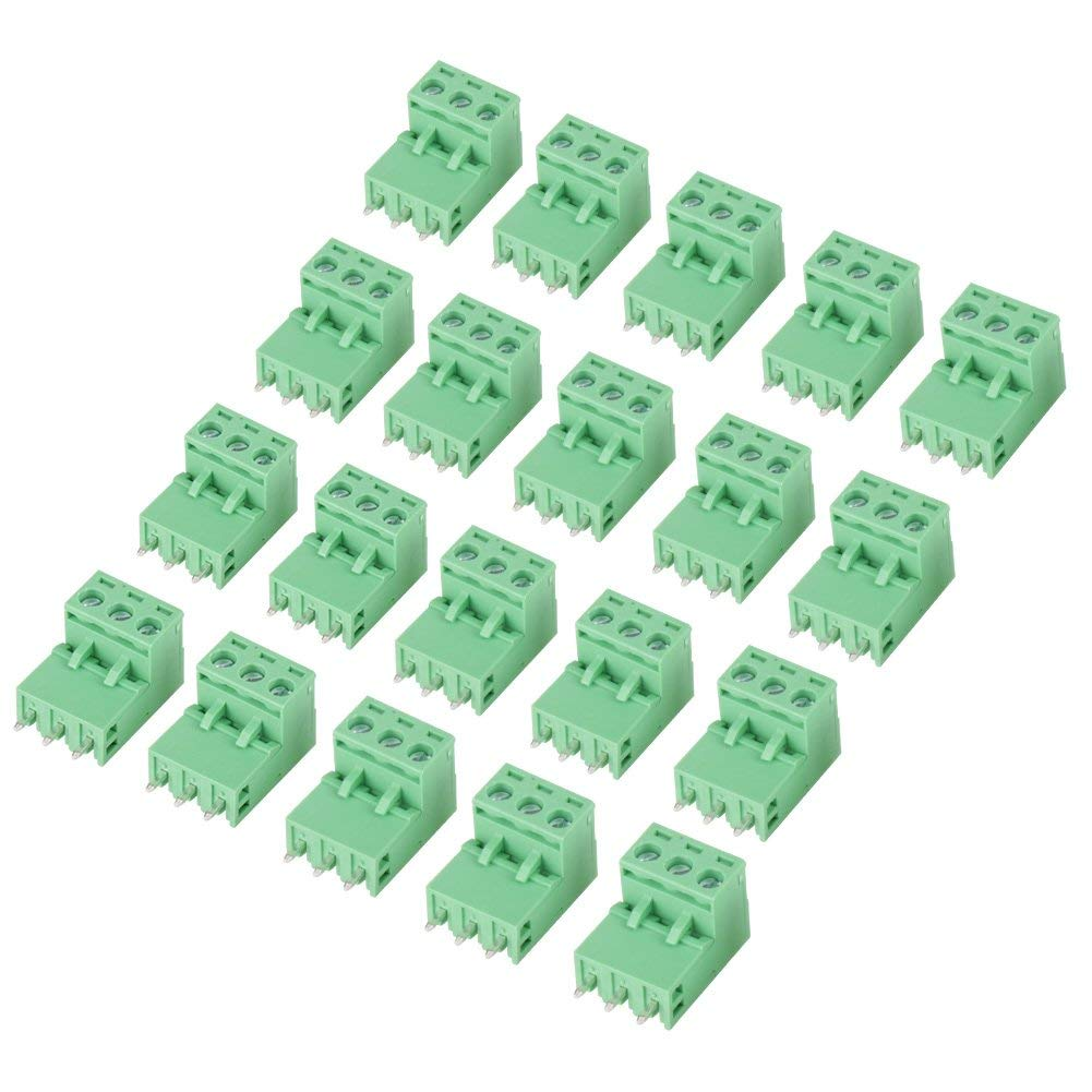20 Sets 3-Pin 5.08mm Plug Type Pitch PCB Mount Screw Terminal Block Kit with Right Angle Pin