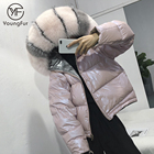 Latest Design Shiny Jacket Korean Fashion Women Winter Reversible Down Puffer Coat Raccoon Fur Collar Women's Coat