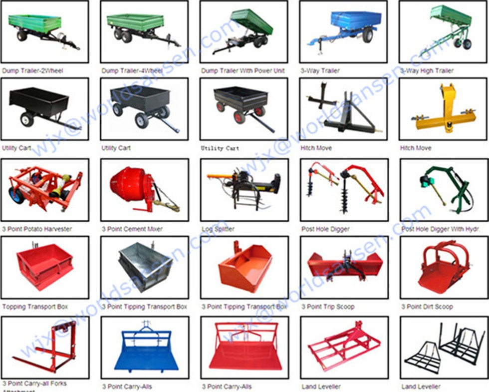 5 ton farm trailers for atv utv ,tractor hydraulic tipping dump trailers , 0.5, 1,2,3,4,5 ton trailer tipping on three sides