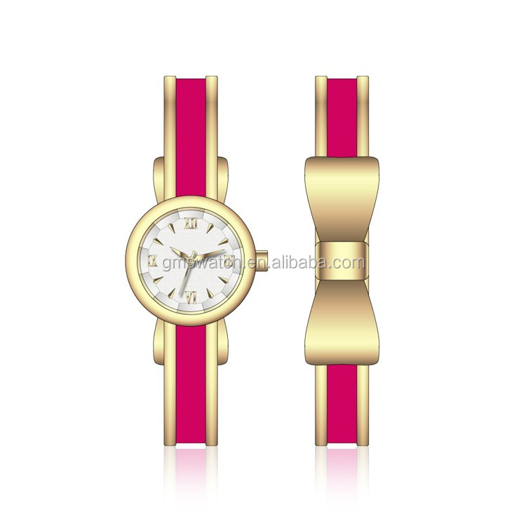 2017 Newest stylish design charming lady watch, leisure style gold plated bracelet watch, bright color butterfly tie band