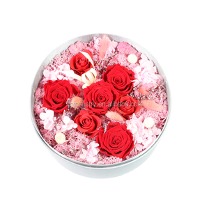 Newly preserved pink roses flower valentine gift box valentines day gifts