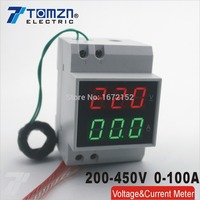Din rail LED display Voltage and current meter with extra CT Current Transformers voltmeter ammeter range AC 200-450V 0.1-99.9A