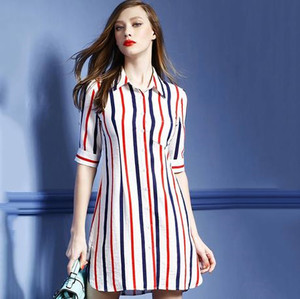 Z90505A 2016The new summer women's clothing British women slim stripe cotton dress with short sleeve
