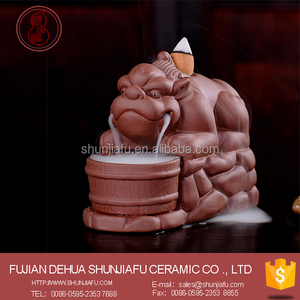 sjf-dlx01 pixiu ceramic backflow incense burner for living room decor