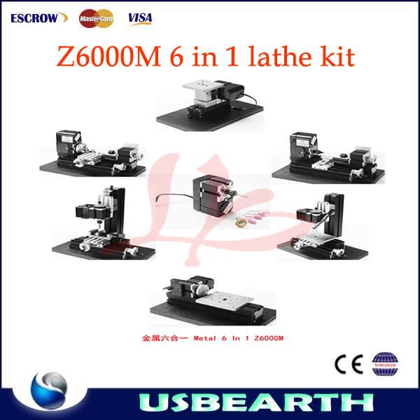 Hottest useful Mini 6 in 1 lathe Z6000M lathe kit 24W,20000rpm DIY metal machine kit good tool for family and schools do craft