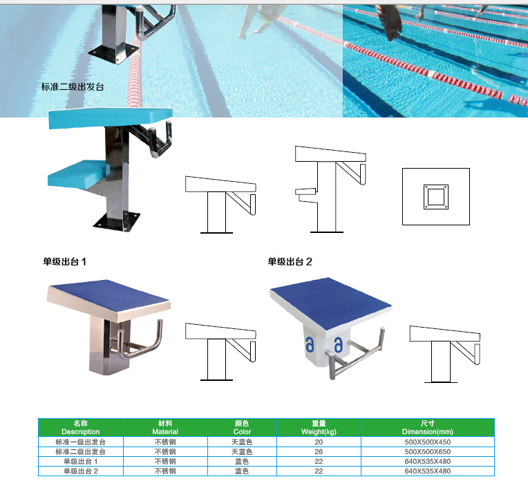 manufacturer fiberglass olympic swimming start block for swim pool