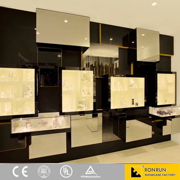 Black Jewellery Counter Display Wall Wood Showcase Designs For Shop ...