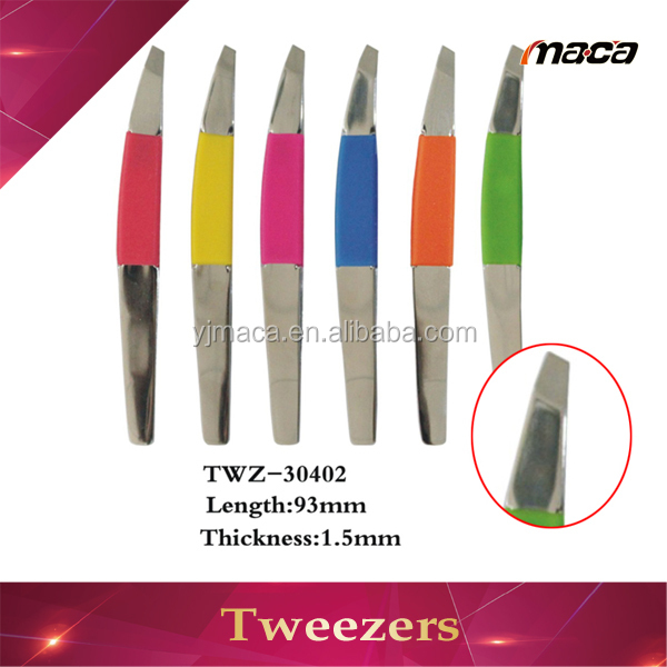Hot sale slant tip rubber handle good quality durable high class tweezer