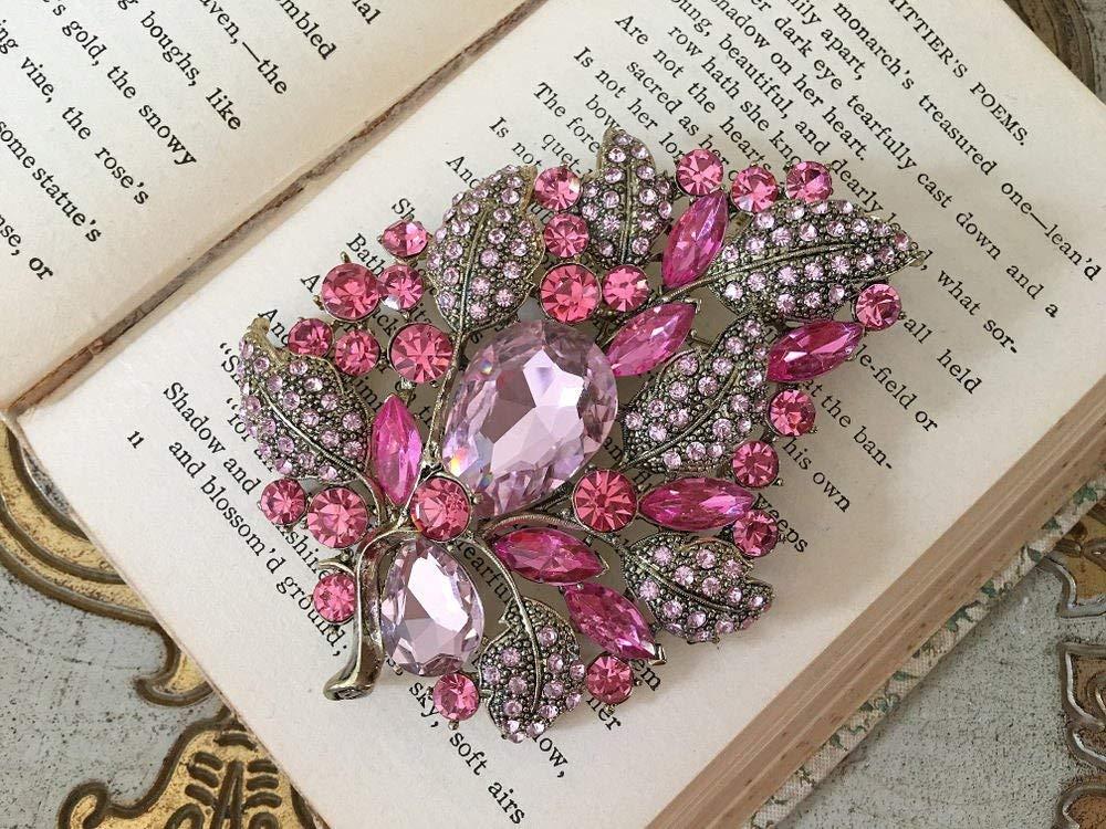 Pink Rhinestone Brooch.Pink Crystal Brooch.Pink Leaf Brooch.Pin.Vintage Style.Antique Gold.Bridal accessory.Pink Leaves.Flower.Large