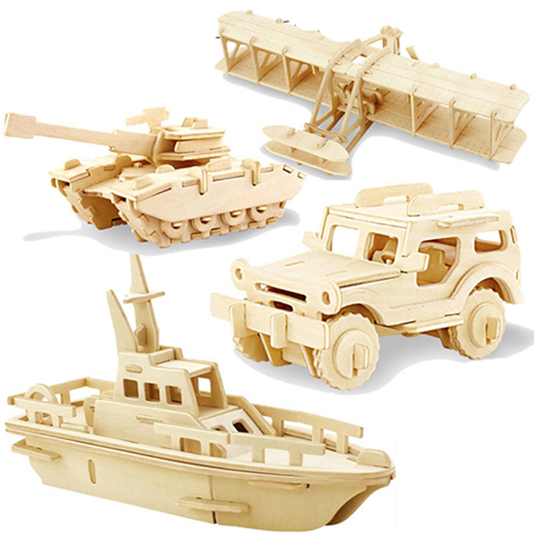 1pc 3D Wood Puzzles Children Adults Vehicle Puzzles Wooden Toys Learning Education Environmental Assemble Toy Educational Games