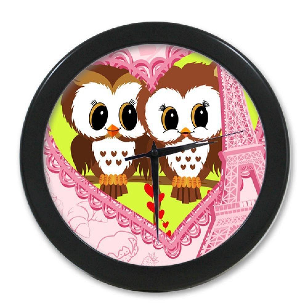 New Style Vintage Wall Clock Customized Cute Cartoon Owl With Eiffel Tower Elegant Wall Clock Modern Design Watch Wall by Wall Clock 4 U