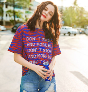 Fashionable 2019 Newest 100% Cotton Loose Round Neck Short Sleeve Girl Tee Shirt Custom Long Women T-shirt