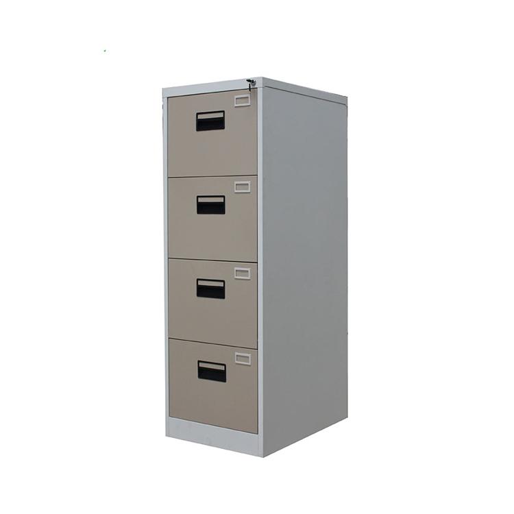 कार्यालय फर्नीचर मोबाइल कुरसी 4 दराज धातु सूचकांक कार्ड बॉक्स पार्श्व फाइल कैबिनेट