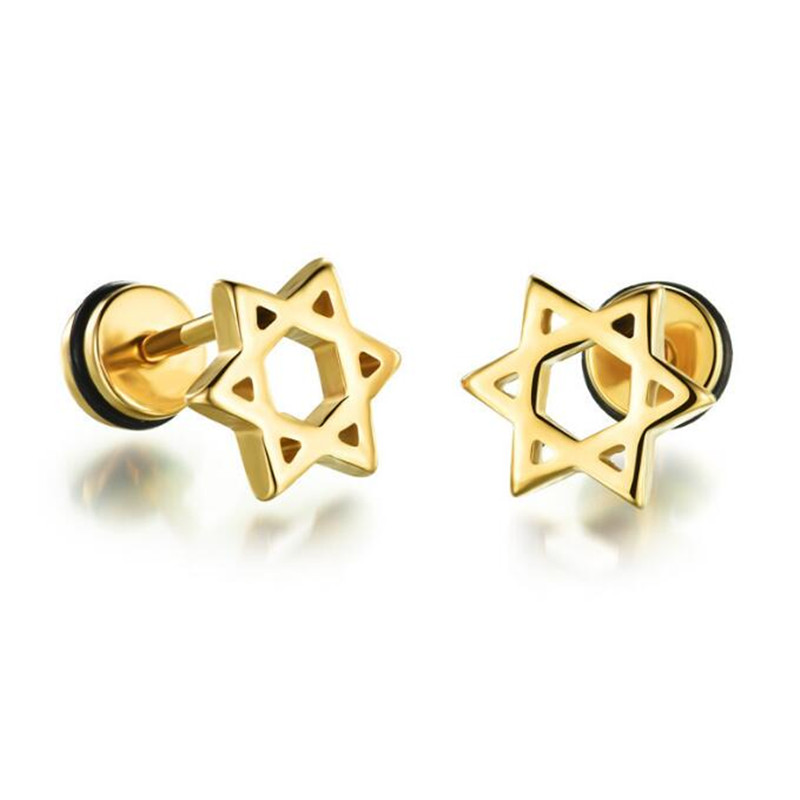 Yiwu Meise Fashion Stainless Steel Star of David Stud Earrings Black/Silver/Color-color Jewelry Gift
