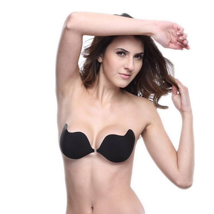 Free Shipping High Quality Sexy woman Self-Adhesive bra Bust Front Closure Silicone Seamless Strapless Bra Invisible Push up bra