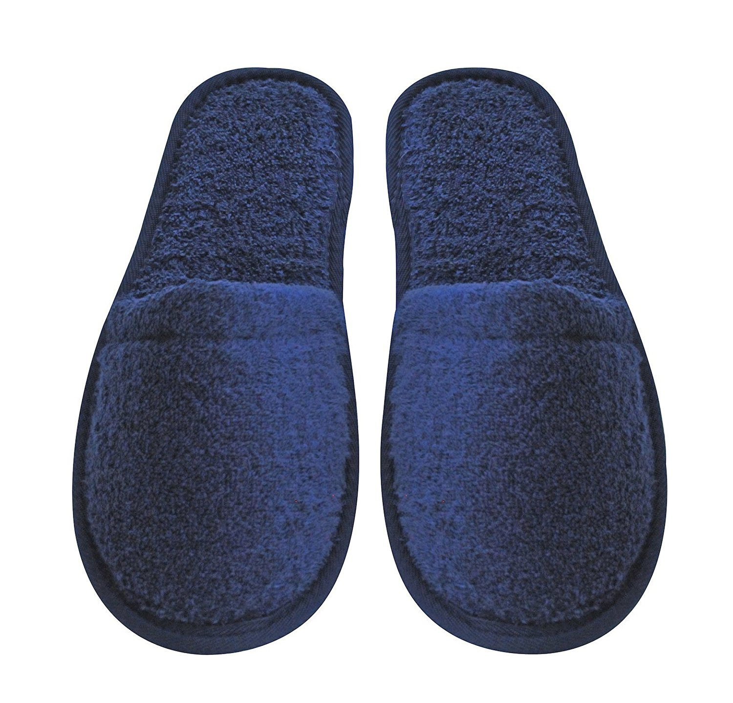 Arus Women's Turkish Organic Terry Cotton Cloth Spa Slippers One Size Fits Most, Navy Blue with Black Sole