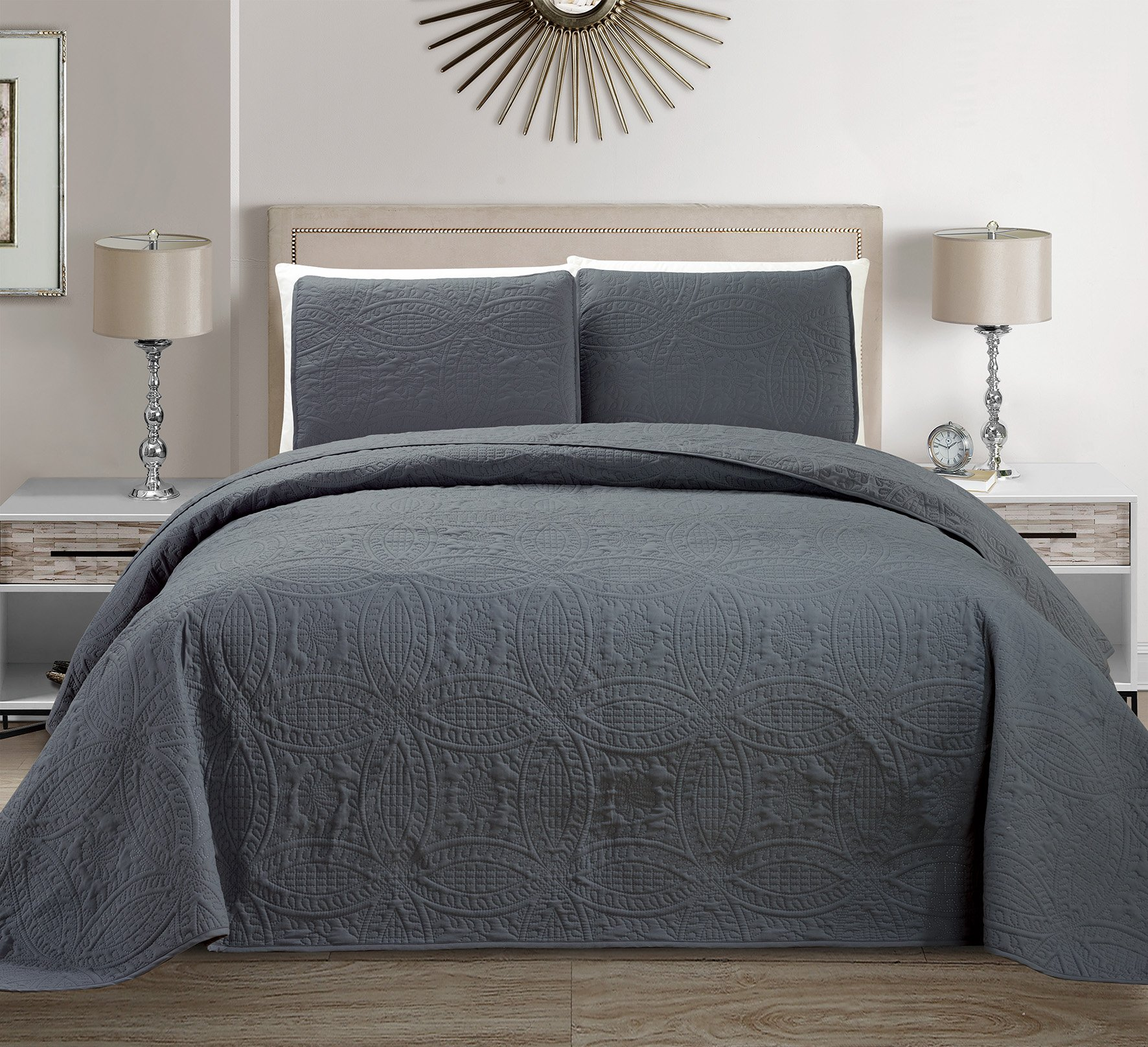 """Mk Collection 3 pc Solid Embossed Bedspread Bed-cover Over size Dark Grey New King/California King Over size 118"""" x 106"""""""
